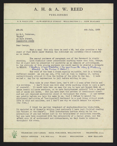 Letter from Clif Reed to G C Petersen