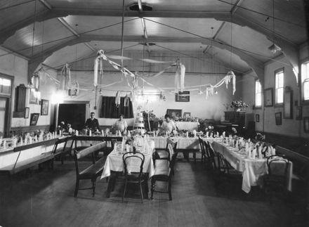 Manchester Unity Oddfellows Lodge Hall set for a Wedding Breakfast