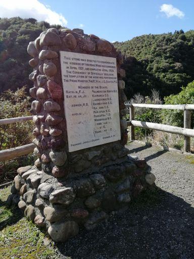 Plaque in Te Āpiti - Manawatū Gorge