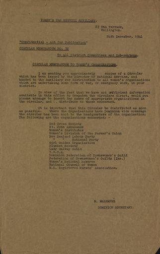 Women's War Service Auxiliary Memorandum No. 32