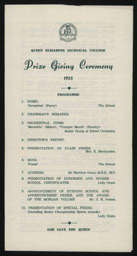 Queen Elizabeth College Prize Giving Ceremony Booklet 1