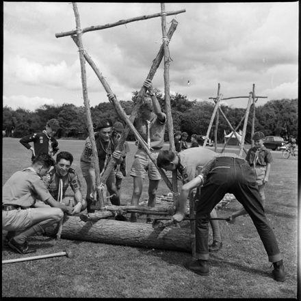 """""""Pioneering Display"""" Boy scouts building a bridge"""