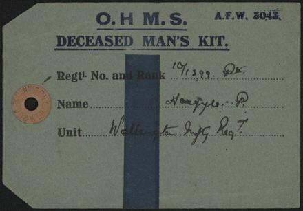 WWI luggage label