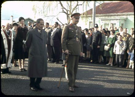 Sir Bernard Fergusson and John Mason Durie at Opening of Māori Battalion Hall