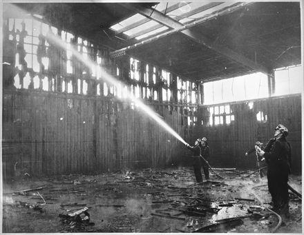 Fighting the fire at Queen Elizabeth College gymnasium