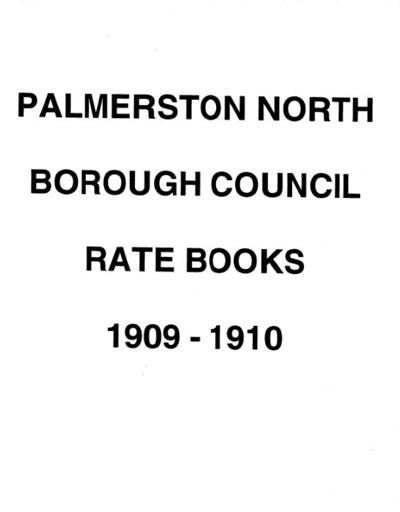 Palmerston North Borough Council Rate Book 1909 - 1910