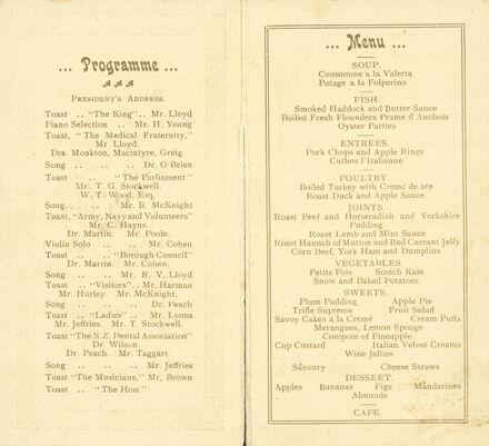 Page 2: N Z Dental Association dinner menu