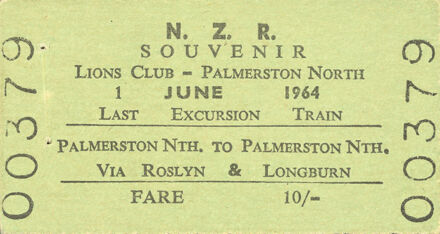 Souvenir ticket for last excursion train to leave Palmerston North Main Street Station