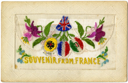 Souvenir from France, embroidered WWI postcard
