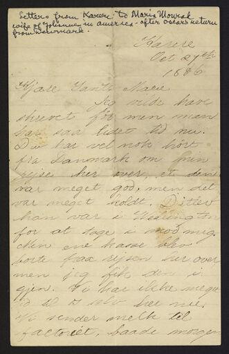 Letter from Oscar Monrad to Marie Monrad