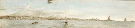 "Drawing of ""Taranaki from seawards 1858"""