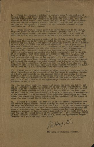 Memorandum from National Service Department 21 January 1942 Page 2