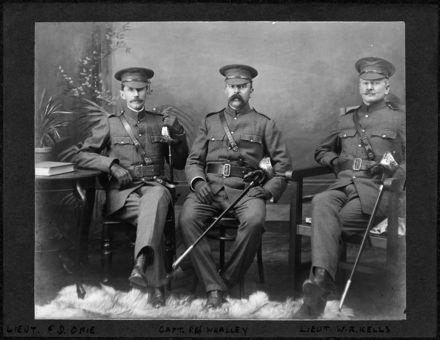 Lieut. F D Opie, Capt. R H Whalley and Lieut. W R Kells in uniform