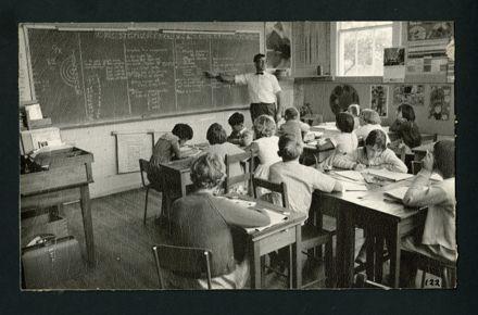 Headmaster Walter Hirsch teaching in the Senior Classroom of the 'Old' Aokautere School