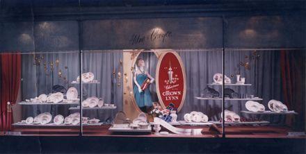 Milne and Choyce window display Crown Lynn pottery