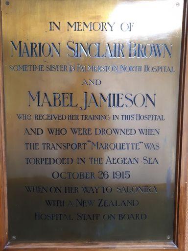 Plaque to the Marquette Nurses - Education Centre, Palmerston North Hospital
