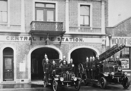 Firemen and fire engines outside Central Fire Station