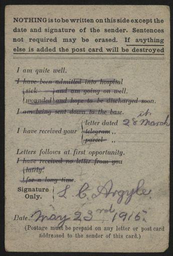 WWI Field Service postcard - 2