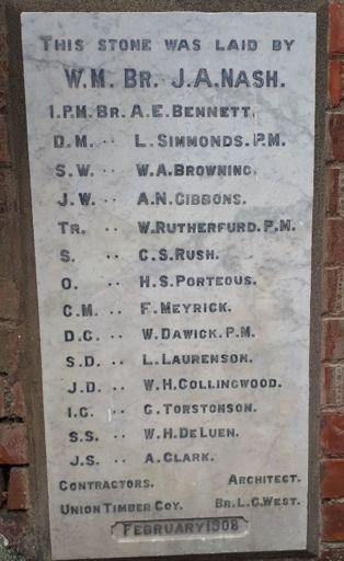 Foundation Stone of Manawatū Kilwinning Lodge No. 47, Church Street