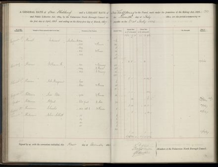 Palmerston North Rate Book, 1886-1889, 53