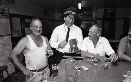 Trainee Māori Warden Jim Puki with Graham Beck and Lee Murray