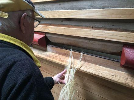 Scutching flax fibre