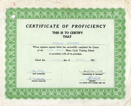 Certificate of Proficiency from the Palmerston North Motor Cycle Training School