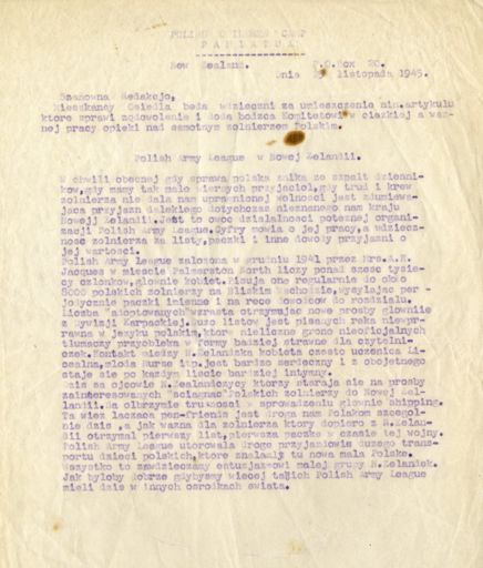 Correspondence related to the Polish Army League and  Polish Children's camp
