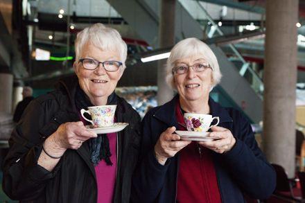 Helen Baldwin and Suzanne Wheeler with Christmas Gift Teacups