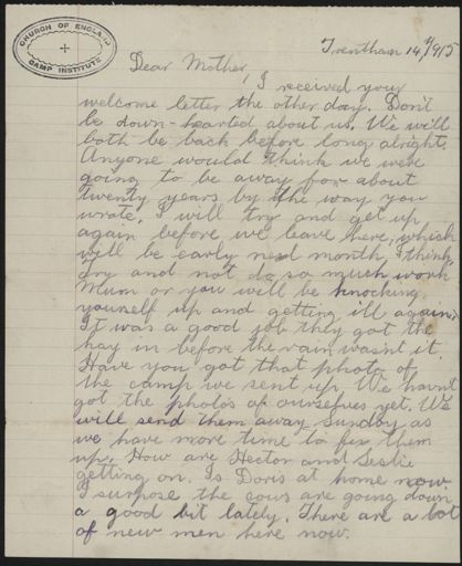 Letter from Len Argyle, at Trenthan during WWI