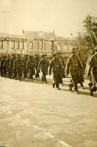 Maori Battalion marching in Palmerston North