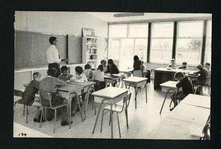 R. Hirst teaching in the New Senior Classroom, Aokautere School