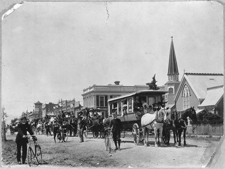 Parishioners of All Saints Church departing on a picnic, Church Street