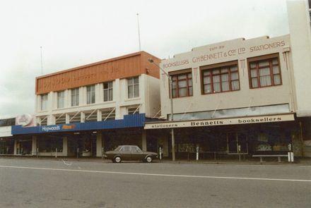 Hopwoods Mitre 10 and Bennett's bookshop, Broadway