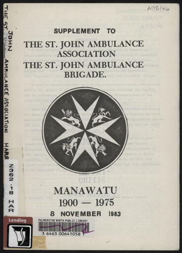Supplement to History of the St John Ambulance Association Manawatu, 1900-1975 1