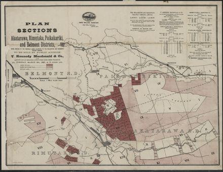 Plan of sections in the Akatarawa, Ruimutuka, Paikakariki and Belmont Districts