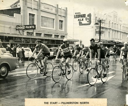 Start Line of Palmerston North-Wellington Segment of Dulux Six-Day Cycle Race, early 1960s