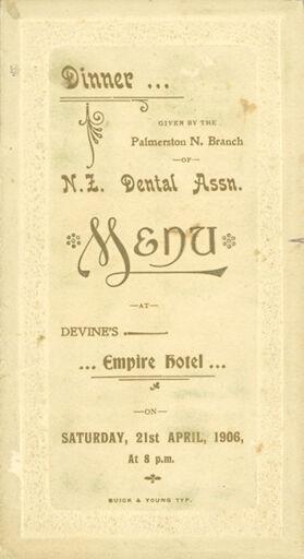 Page 1: N Z Dental Association dinner menu