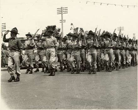 Army March Past, as part of Palmerston North 75th Jubilee celebrations