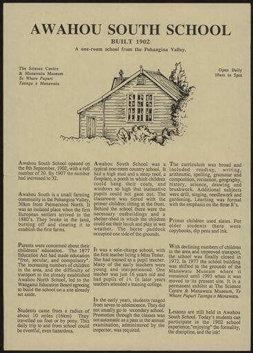 Totaranui and Awahou South School Information Sheet 2
