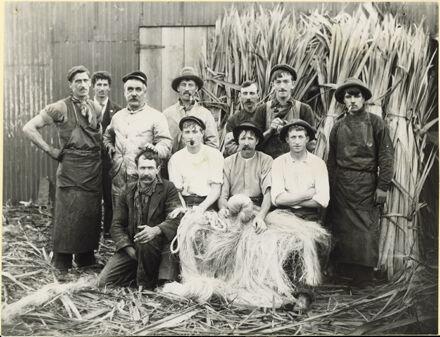 Workers at a flaxmill, Manawatu