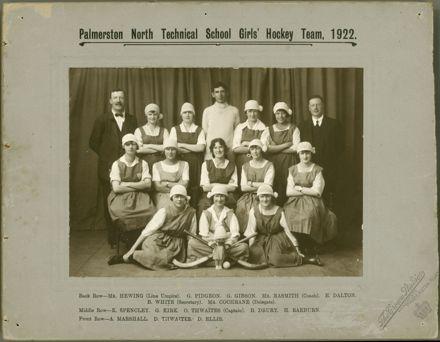 Palmerston North Technical School Girls' Hockey Team, 1922