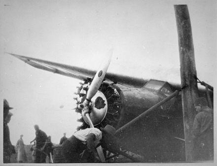 Damaged Southern Cross Aircraft, Milson Airport