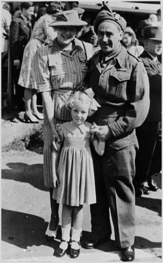 Sergeant Bernard Cox with Myrtle and Margaret Cox