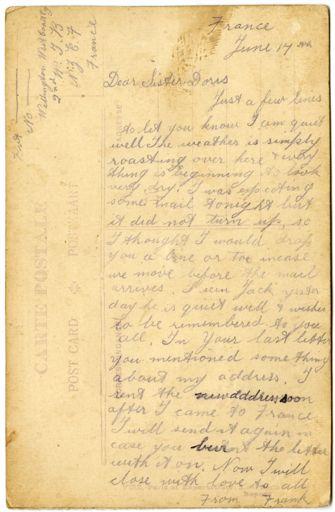 Souvenir, Embroidered WWI Postcard – reverse