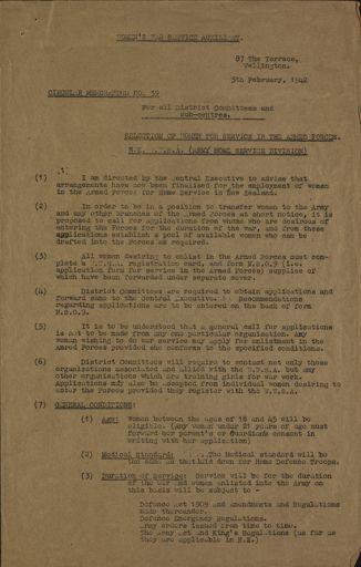 Women's War Service Auxiliary Memorandum No. 39