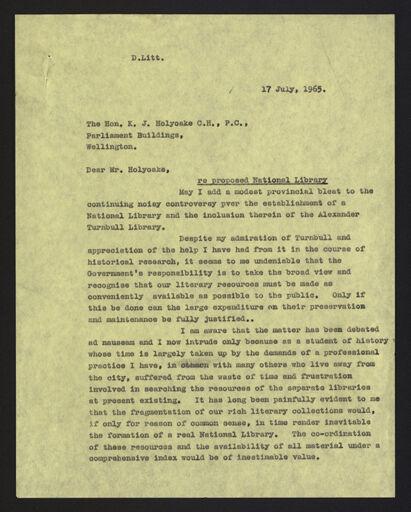 Letter from G C Petersen to Honourable K J Holyoake