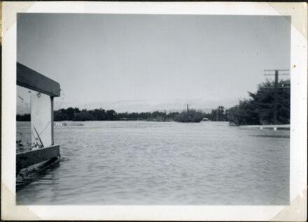 Bourke's Drain in flood, Rangiotu