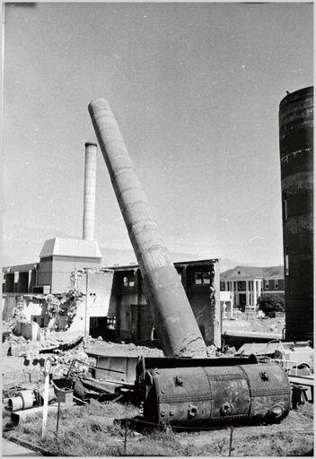 Demolition of boiler chimney, Palmerston North Hospital