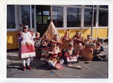 Pupils from Aokautere School dressed up for a Teaching Unit on Native Americans